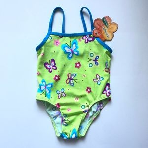Max Grey butterfly swimsuit sz 12-18 months NWT!